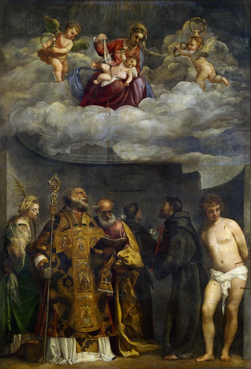 Calendario Gregoriano Santi.Tiziano Vecellio La Madonna Col Bambino E Santi